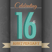 16th Anniversary poster  template design in retro style - Vector Background