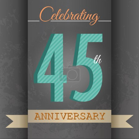 45th Anniversary poster , template design in retro style - Vector Background