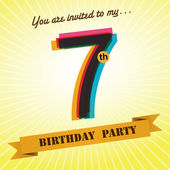 7th Birthday party invite template design in retro style - Vector Background