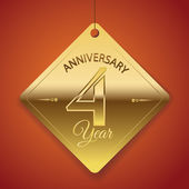 4 Years Anniversary poster  template tag design Vector