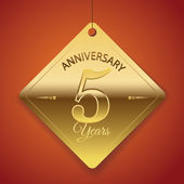 5 Years Anniversary poster  template tag design Vector