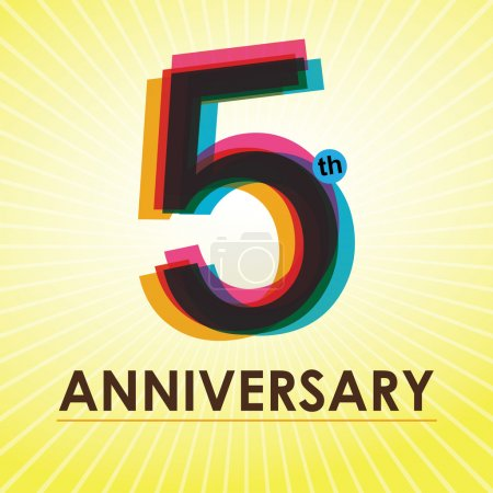 5 Years Anniversary poster , template, tag design Vector