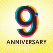 9 Years Anniversary poster  template tag design Vector