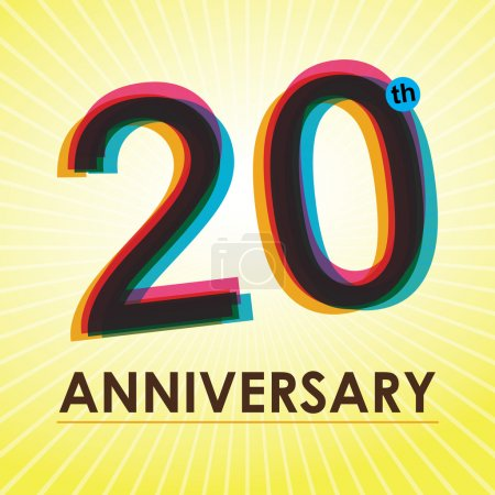 20 Years Anniversary poster , template, tag design Vector
