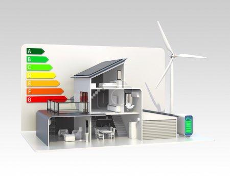 Foto de Casa inteligente con tabla de clasificación de energía . - Imagen libre de derechos