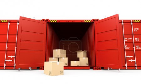 Opened red cargo container with cardboard boxes