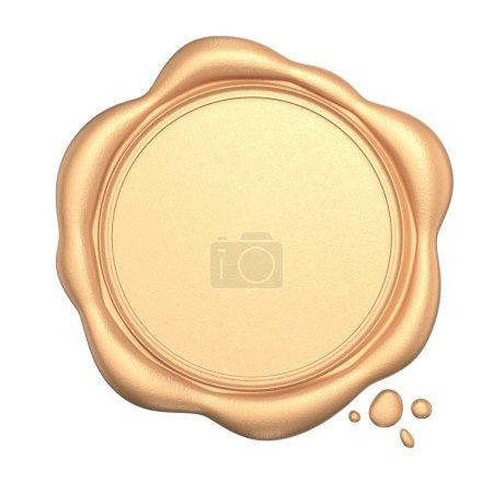 Photo pour Sceau de cire dorée avec espace vide isolé sur fond blanc . - image libre de droit