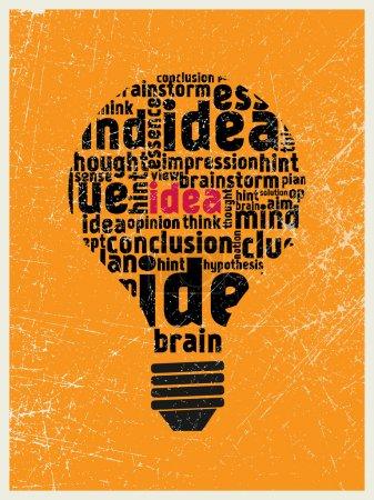 Illustration pour Idée dans l'affiche de l'ampoule - image libre de droit
