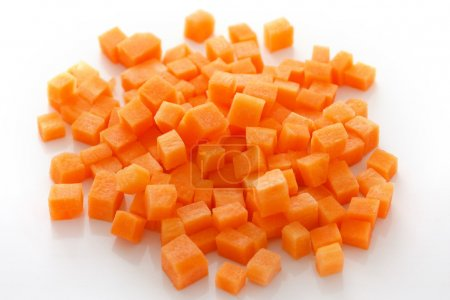 Photo for Diced carrots on white - Royalty Free Image