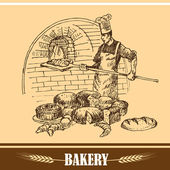 Baker holding bread into wood oven