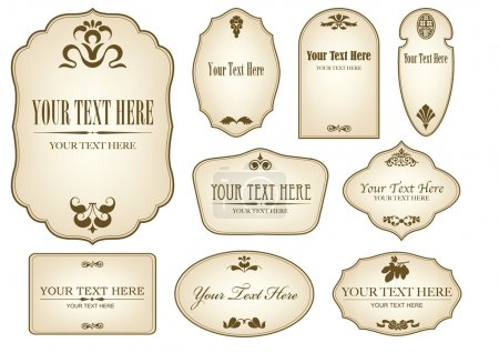 Illustration for ILLUSTRATION OF A DIGITAL COLLAGE OF AGED LABELS WITH BROWN FLORAL DESIGNS AND TEXT SPACE - Royalty Free Image