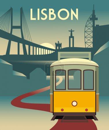 Illustration pour Illustration du tramway de Lisbonne - image libre de droit