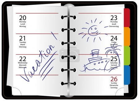 Illustration for WEEKLY ORGANIZER PLANNER OPENED TO VACATION WEEK - Royalty Free Image