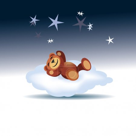 Illustration for Bear sleeping on the cloud - Illustration - Royalty Free Image