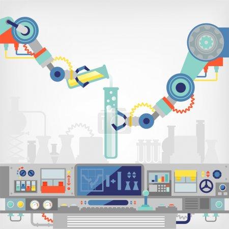 Illustration pour Bras robotique en laboratoire - image libre de droit