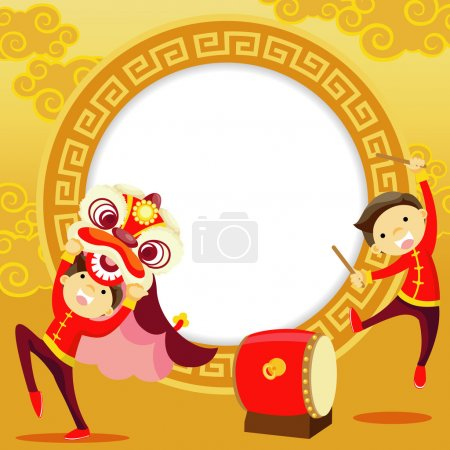 Illustration for Chinese new year greeting card ,Lion Dance - Royalty Free Image