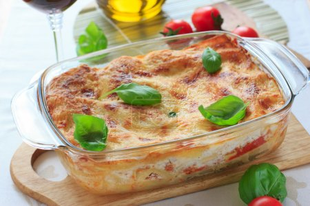 Beef lasagna in the casserole dish