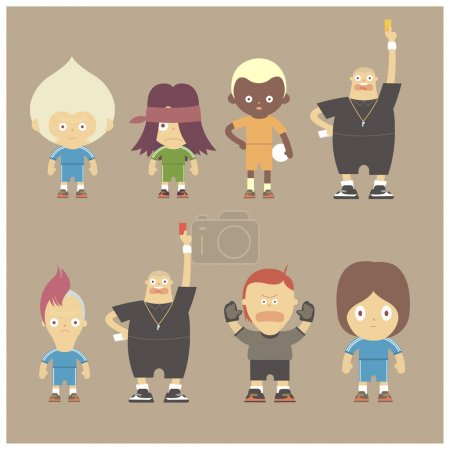 Illustration for Set of cartoon sport people, vector - Royalty Free Image
