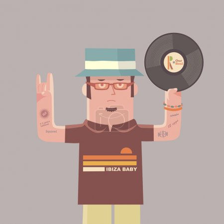 Illustration for DJ character holding a vinyl record - Royalty Free Image