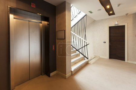 Elevator and stairs in building...