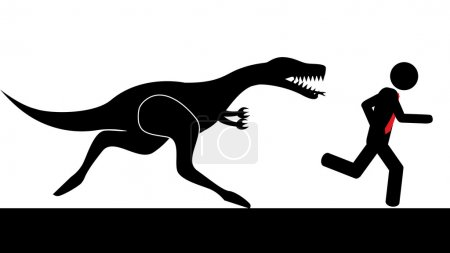 Illustration for Illustration (vector) of a person that is running from a dinosaur. - Royalty Free Image