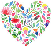 Heart made of watercolor flowers