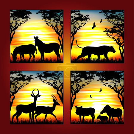Illustration for Africa animal with savanna - Royalty Free Image