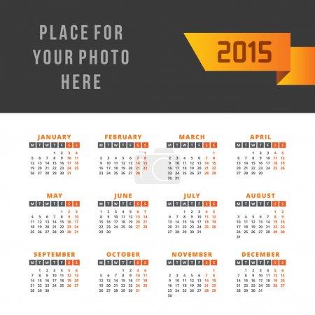 Calendar 2015 vector design template