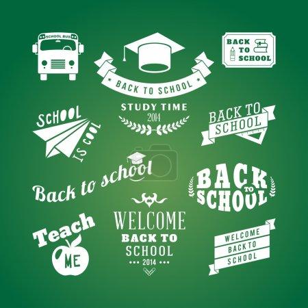 Illustration pour Éléments de conception vectoriels de retour à l'école. Style rétro et ornements vintage. Étiquettes, insignes, timbres et autres dessins - image libre de droit