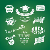 Back to School vector design elements. Retro style and vintage ornaments. Labels, badges, stamps and other designs