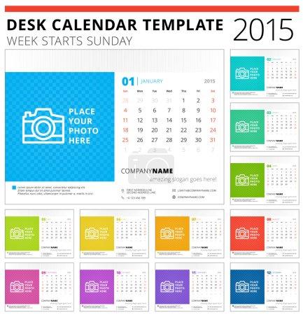 Desk calendar 2015 vector template week starts sunday