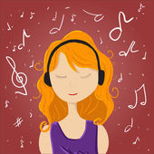 Girl listening music enjoy melodies