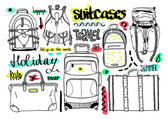 Vector black and white set with bags for travel text