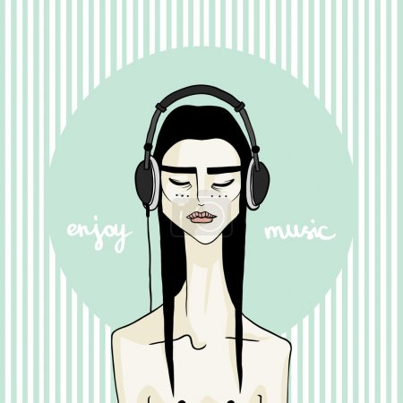Vector illustration asian girl with headphones