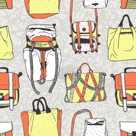 Illustration for Seamless vector pattern with original bags - Royalty Free Image