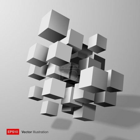 Illustration for Abstract composition of white 3d cubes.  Vector illustration - Royalty Free Image