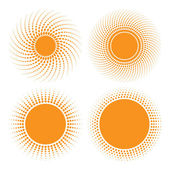 Set of Sun Halftone Design Elements