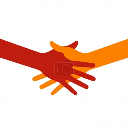 Illustration for Colorful icon hand shake, vector illustration for business and finance - Royalty Free Image