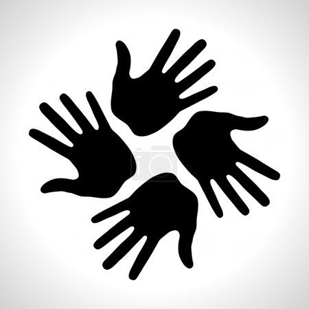 Illustration for Black Hand Print icon, vector illustration - Royalty Free Image