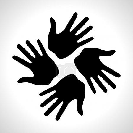 Black Hand Print icon, vector illustration...