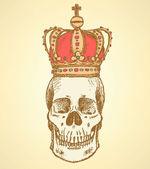 Sketch skull in crown  vintage background