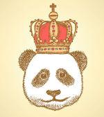 Sketch panda in crown vintage background
