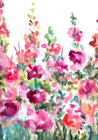 Photo for Colorful, Loose Abstract Watercolor Floral Landscape Background - Royalty Free Image