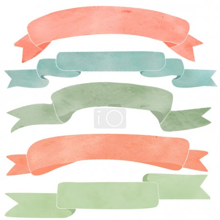 Photo for Watercolor Ribbons. Banners. Collection of Isolated Watercolor Ribbons on White Background - Royalty Free Image