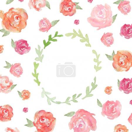 Photo for Laurel Wreath Frame. Watercolor Laurel Wreath. Watercolor Peonies Background. Painted Peony Flowers. Watercolor Flowers. Spring Flower Frame - Royalty Free Image