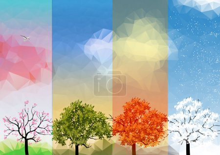 Illustration for Four Seasons Spring, Summer, Autumn, Winter Banners with Abstract Trees Infographic - Vector Illustration - Royalty Free Image