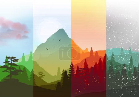 Four Seasons Banners with Abstract Forest and Mountains - Vector Illustration
