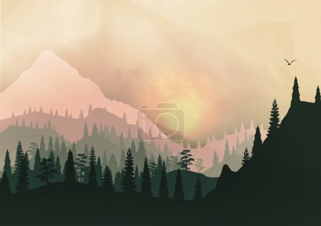 Sunset Panorama of Mountain Ridges and Pine Forest - Vector Illustration