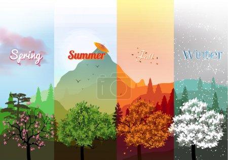 Illustration pour Bannières Four Seasons avec forêt abstraite et montagnes - Illustration vectorielle - image libre de droit