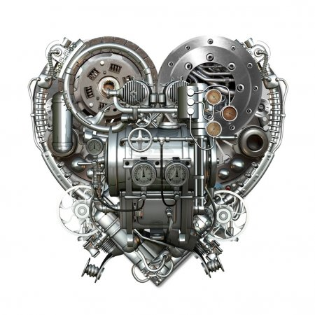 Photo pour Un cœur techniquement mécanique au travail - image libre de droit